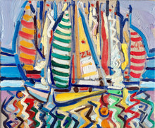 Load image into Gallery viewer, Original Painting Andrew Cranley titled Winter Series. It is a small colourful abstract painting of boats