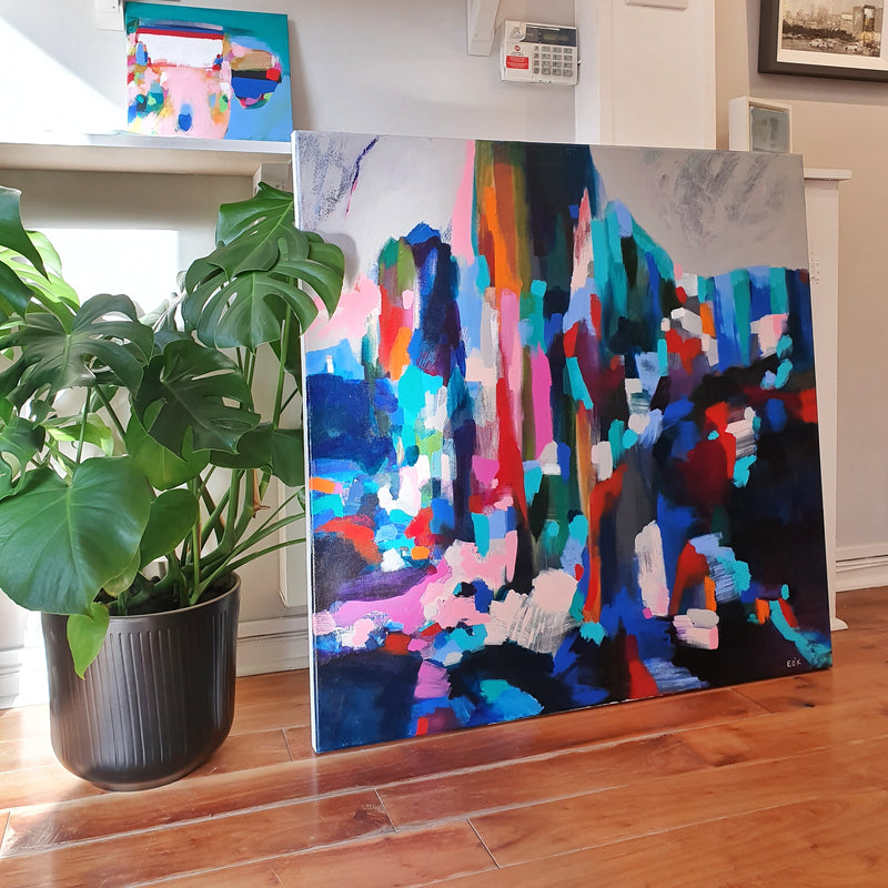 Original painting Esther O'Kelly Into the Forest. A large colourful abstract based off irish landscapes