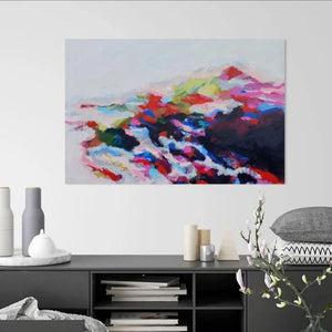 Original painting Esther O'Kelly Stay on My Shore. A large colourful abstract based off irish landscapes