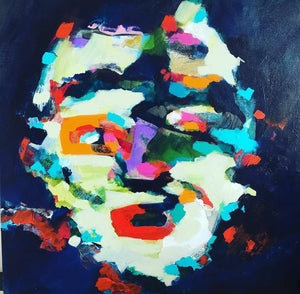 Original painting Esther O'Kelly The People I Saw But Never Met. An abstract portrait based off irish landscapes