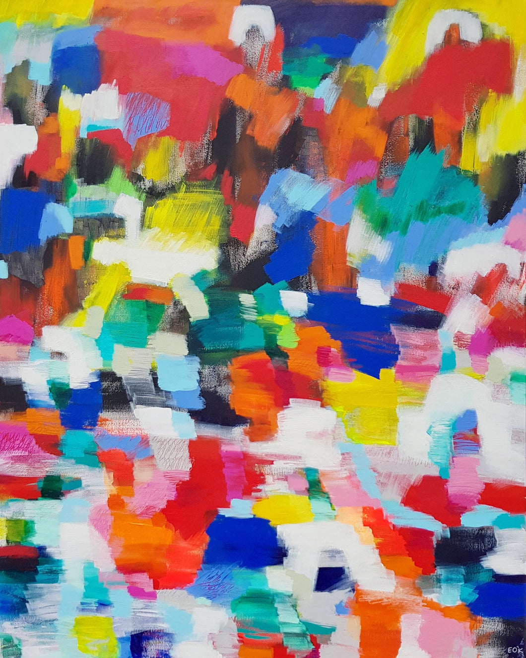 Original painting Esther O'Kelly Wild Rambles. Large colourful abstract based off irish landscapes