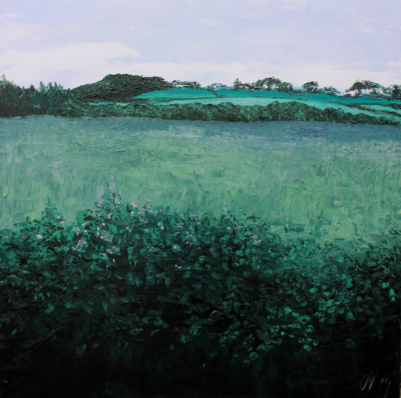 Stephanie Noble original oil on canvas Acres. A view of the Co. Down countryside in shades of green