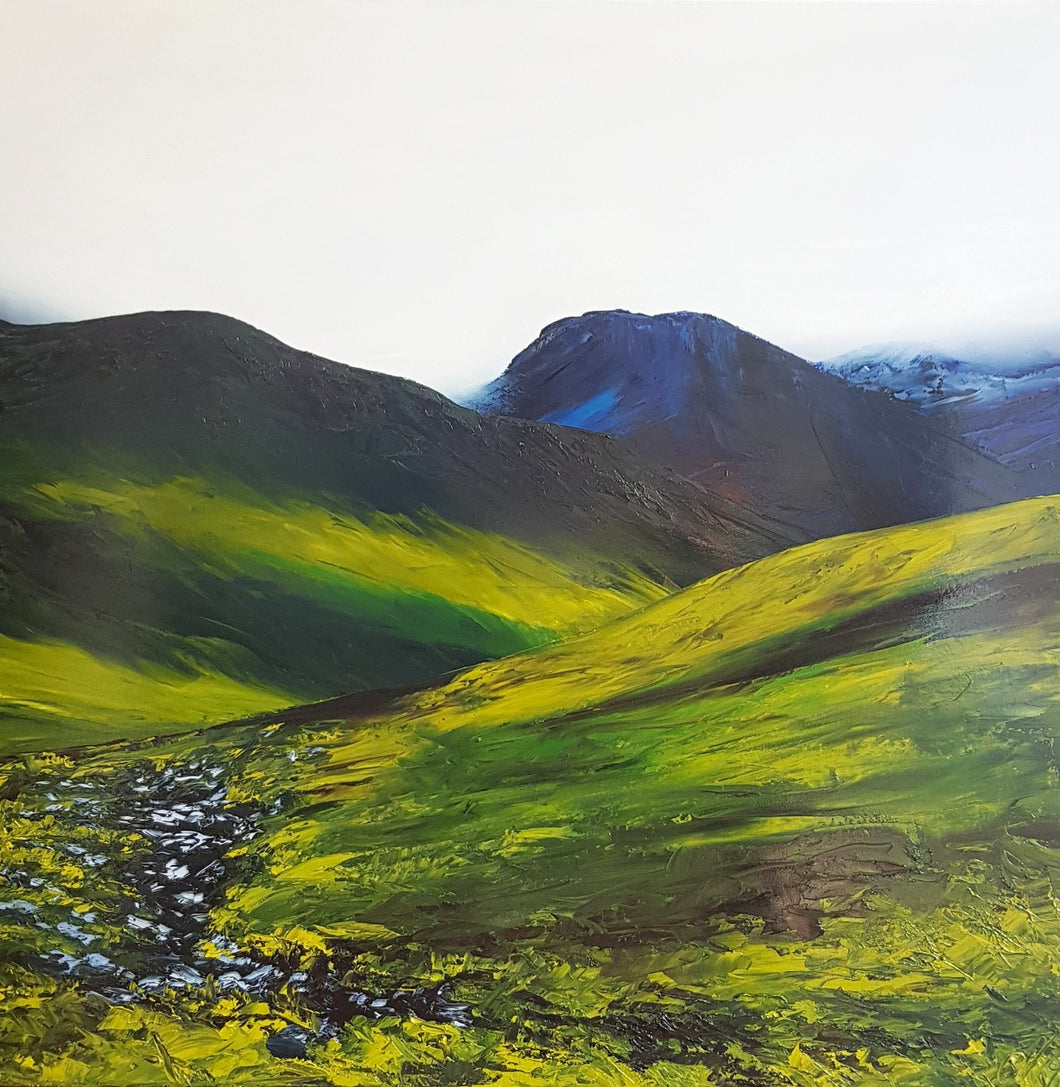 Stephanie Noble original oil on canvas Cloaked Majesty. Mourne Mountains Co. Down