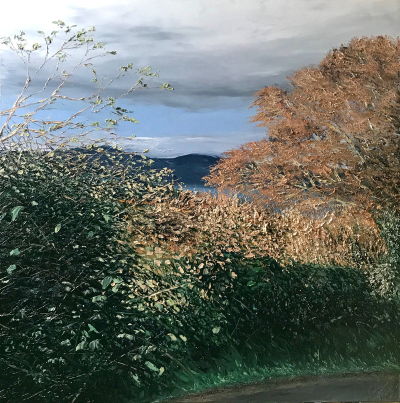 Stephanie Noble original oil on canvas Low Sun, glenarm landscape