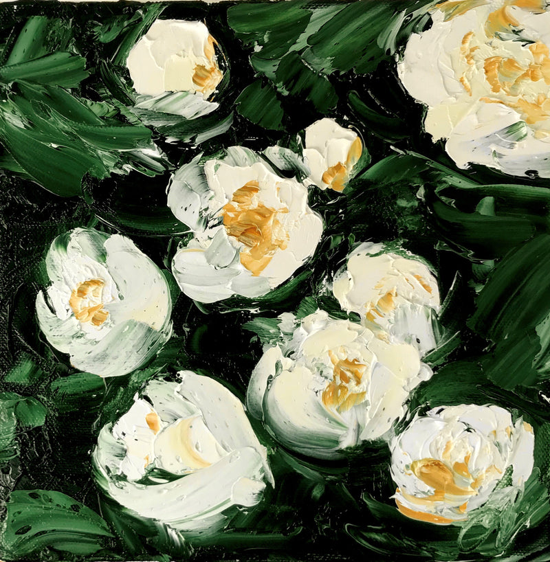 Stephanie Noble original oil on canvas lost time. contemporary still life of white flowers