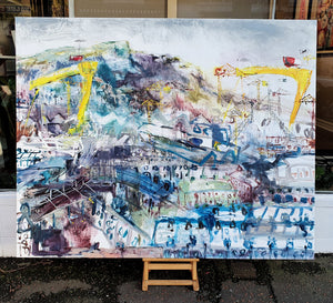 Una O'Grady oil on canvas original painting Streets of the East. A scene of Harland and Wolff cranes in East Belfast. Cave hill features