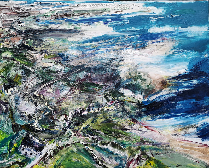 Una O'Grady oil on canvas original painting Wild Atlantic Way, Bloody Foreland. A contemporary landscape scene of the west coast of ireland, Donegal