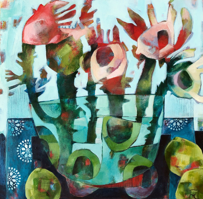 liza kavanagh original painting on board Bowl of Plenty. A contemporary still life of flowers in a vase.