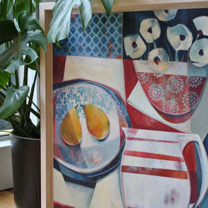liza kavanagh original painting on board striped jug and two pears. a contemporary still life in shades of navy, red and white