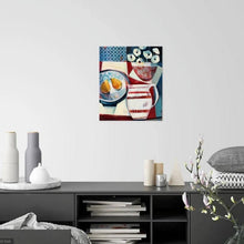 Load image into Gallery viewer, liza kavanagh original painting on board striped jug and two pears. a contemporary still life in shades of navy, red and white