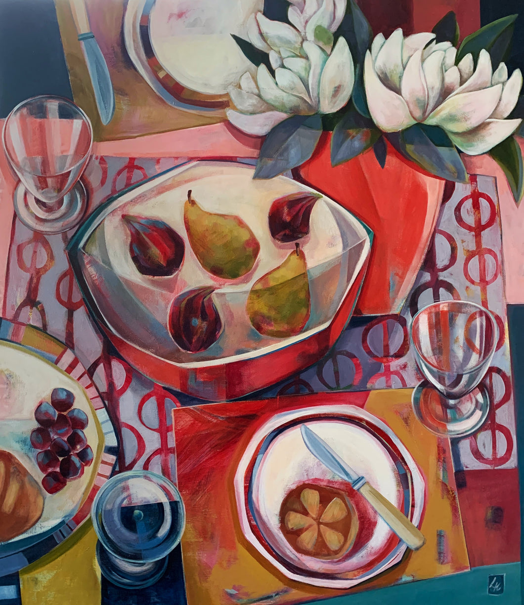 liza kavanagh original painting on board The Carnelian Vase. a contemporary still life in shades of red