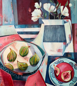 liza kavanagh original painting on board Tiger Figs and Anemones. a contemporary still life in shades of red and blue