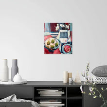 Load image into Gallery viewer, liza kavanagh original painting on board Tiger Figs and Anemones. a contemporary still life in shades of red and blue