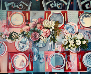 liza kavanagh original painting on canvas commensality. Large scale contemporary still life in hues of red pink and blue