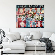 Load image into Gallery viewer, liza kavanagh original painting on canvas commensality. Large scale contemporary still life in hues of red pink and blue