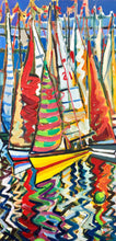 Load image into Gallery viewer, original oil by andrew cranley Dinghy race line. a colourful abstract painting of boats
