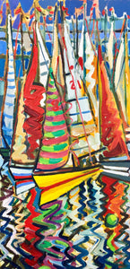 original oil by andrew cranley Dinghy race line. a colourful abstract painting of boats