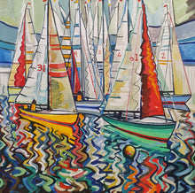 Load image into Gallery viewer, original oil by andrew cranely titled before the rain, an abstract colourful painting of boats