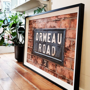 original oil on board painting by Francis McCrory of Ormeau Road belfast street sign