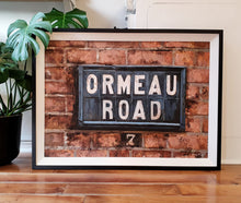 Load image into Gallery viewer, original oil on board painting by Francis McCrory of Ormeau Road belfast street sign