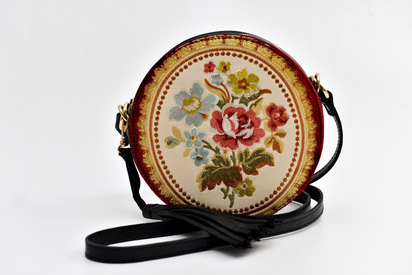 Batool Circle Bag Vintage Flower Embroidery