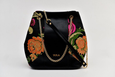 Sophia Bucket Bag - Black /Vintage Flower Fabric