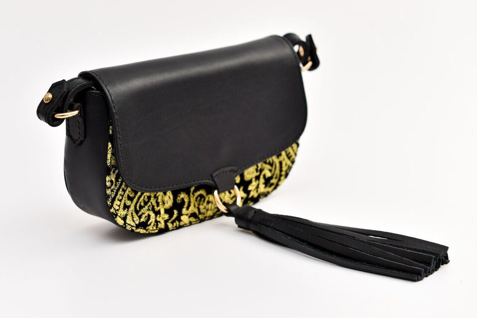 Ittô Mini Crossbody Bag - Gold Embroidery Fabric