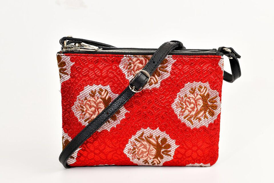 FAY Triple -zip Crossbody Bag - Black / Red