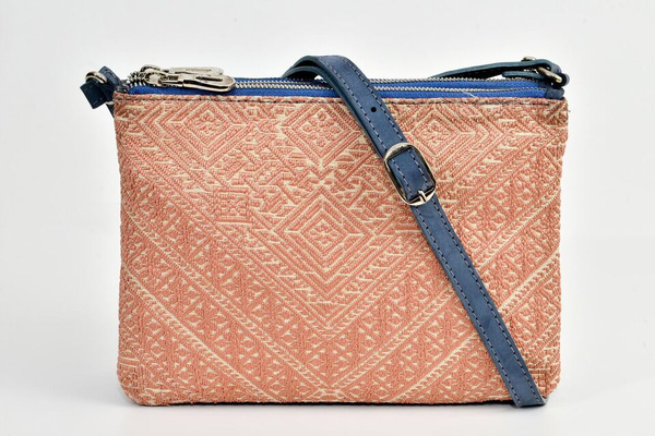 FAY Triple -zip Crossbody Bag - Blue- peach