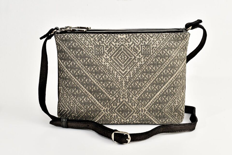 FAY Triple -zip Crossbody Bag - Sparkle gray