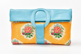 Casablanca Foldover Clutch - Turquoise - Pink