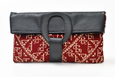 Casablanca Foldover Clutch - Burgundy woven Fabric