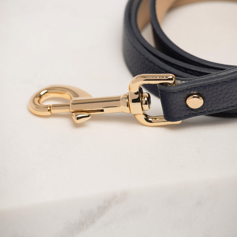 Berlin Leather Dog Lead Navy