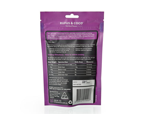 Rufus & Coco's Anxiety Aid is a professionally formulated palatable powder. It contains tryptophan along with other B group vitamins and minerals to help your little mate