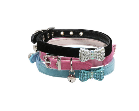 Diamante Bow Cat Collar