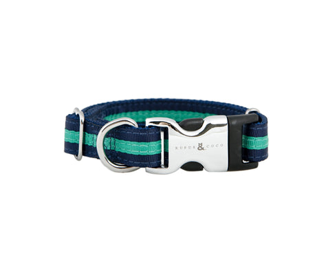 Our gorgeous Bronte Collar is a best-seller! The premium striped nylon collar has a signature R&C silver etched clip, and makes a bold colour statement.