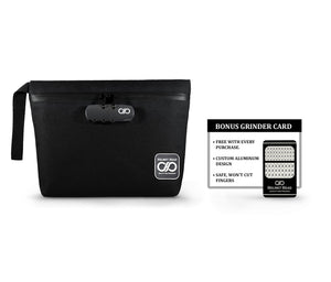 Black Smell Proof Bag with Grinder Card