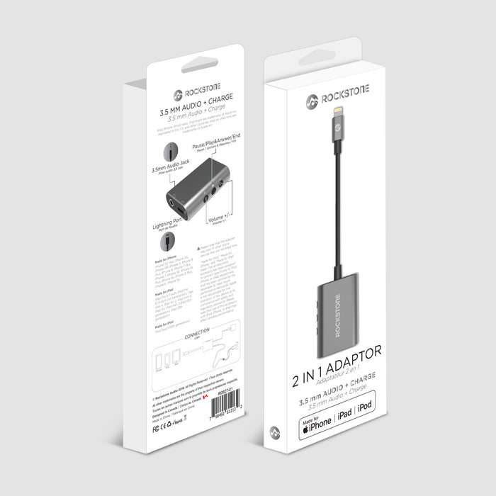 Rockstone 3.5mm Audio + Charge 2 in 1 Adapter (Apple Certified)