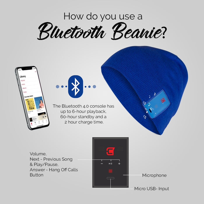 Blu-Toque - Bluetooth Beanie - Slim Blue