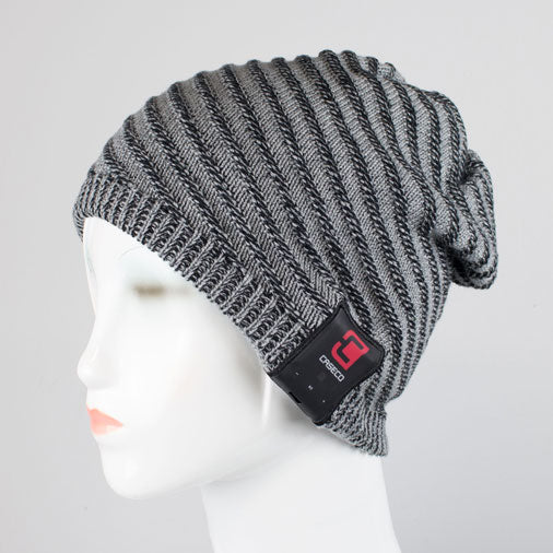 Blu-Toque - Bluetooth Beanie - Boho Ribbed Slouchy Grey