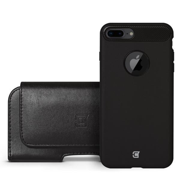 Faux Leather Horizontal Pouch w/ 360 Belt Clip - iPhone 12 / 12 Pro