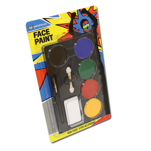 Face Paint Pack (6 colours + brush + sponge)