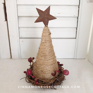 Twine Cone Tree With Rusty Star And Pip Berries Sale-CRC Christmas Originals-Cinnamon Rose Cottage
