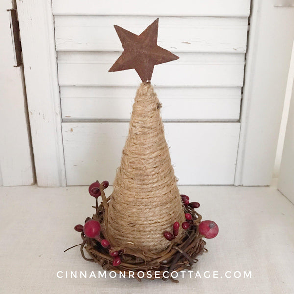 Twine Cone Tree With Rusty Star And Pip Berries-CRC Christmas Originals-Cinnamon Rose Cottage