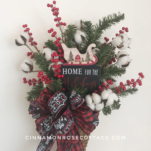 Home For The Holidays Christmas Wall Basket-Cinnamon Rose Cottage