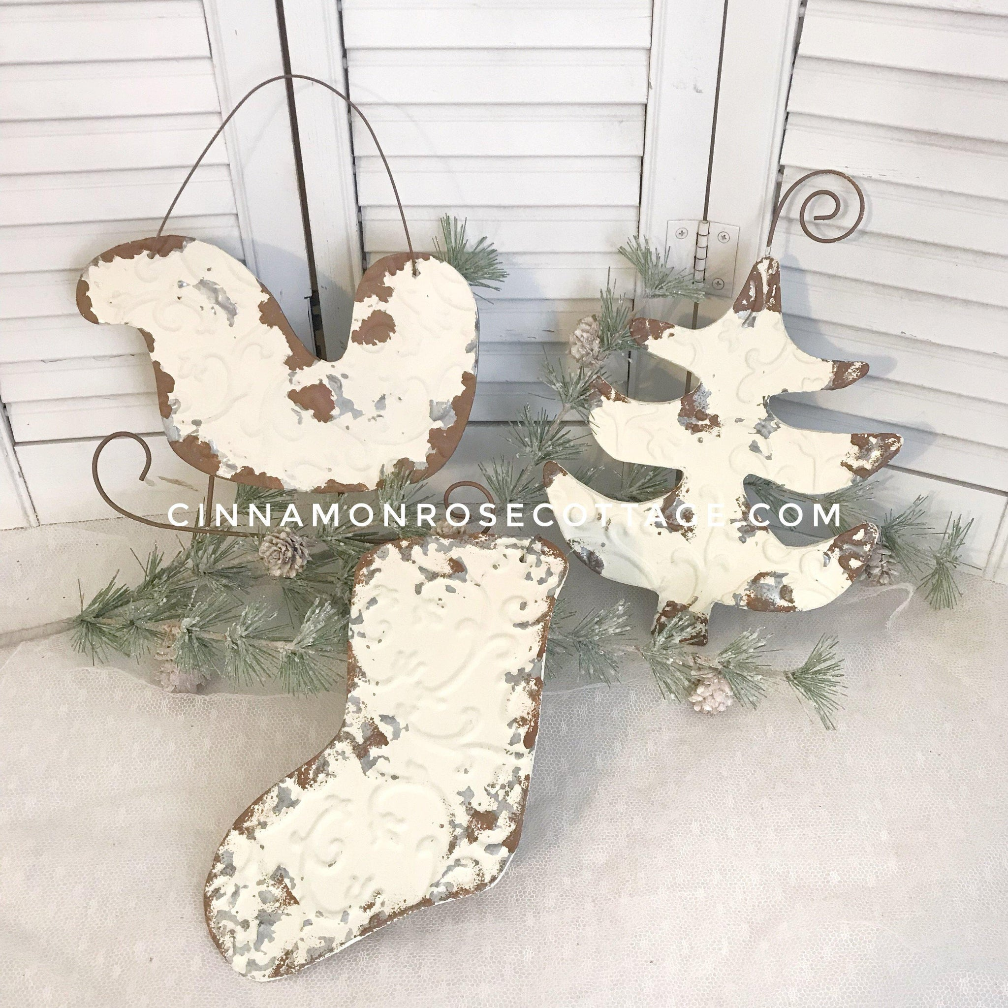 Cottage Inspired Set of 3 Large Distressed Galvanized Metal Christmas Ornaments Sale-Christmas-Cinnamon Rose Cottage