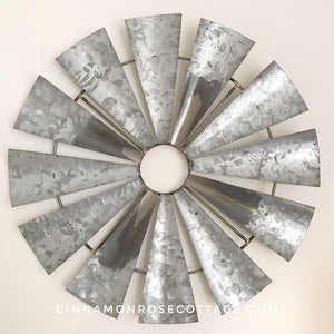 Galvanized Metal Windmill Wall Decor-Cinnamon Rose Cottage