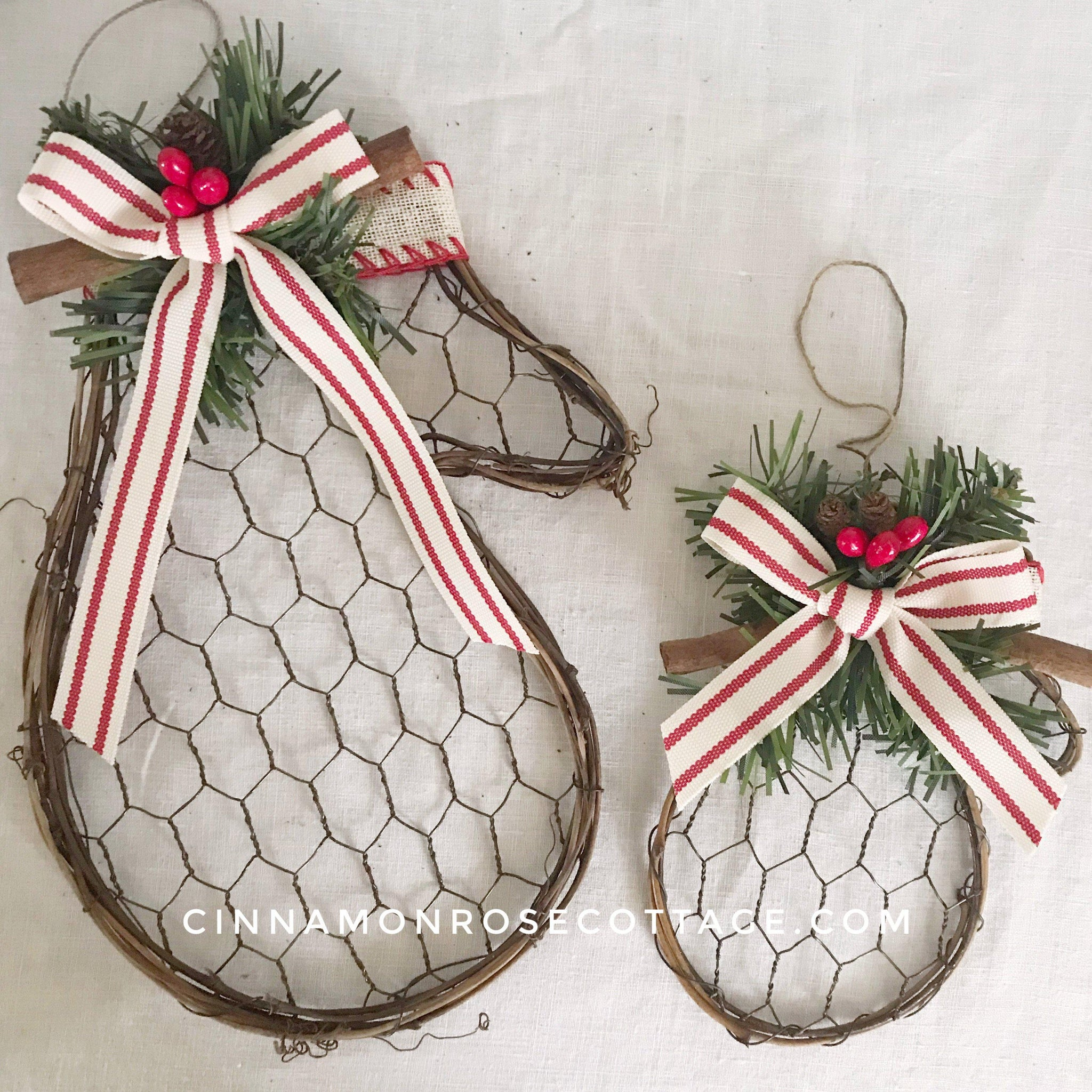 Chicken Wire Christmas Mitten With Pillow Tick Ribbon-Cinnamon Rose Cottage