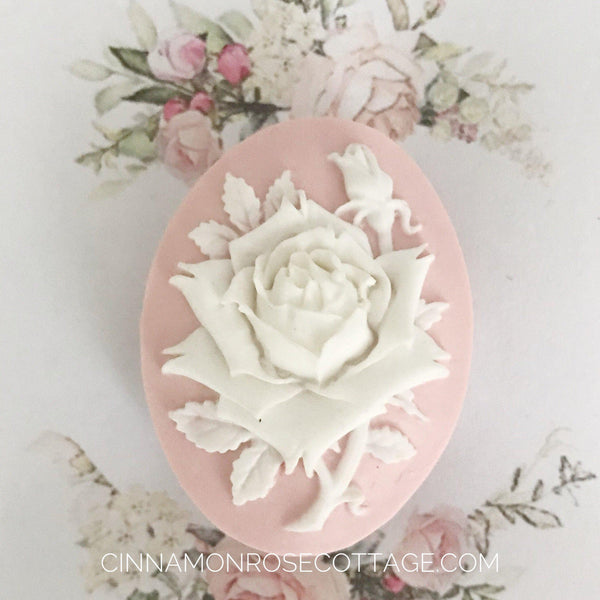 Dimensional Cameo Brooch Pink With A White Rose Sale-CRC Originals-Cinnamon Rose Cottage