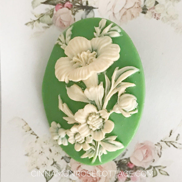 Dimensional Cameo Brooch White Flowers On Green CRC Original Sale-CRC Originals-Cinnamon Rose Cottage